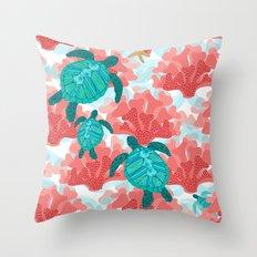 Sea Turtles in The Coral - Ocean Beach Marine Throw Pillow
