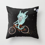 Bunny In Space Throw Pillow