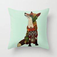 Fox Love Mint Throw Pillow