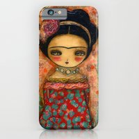 iPhone & iPod Case featuring Frida In A Red And Teal Dress by Danita Art