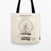 Amusement Ride Patent Tote Bag