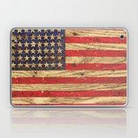 Vintage Patriotic American Flag on Old Wood Grain Laptop & iPad Skin