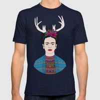 DEER FRIDA Mens Fitted Tee Navy SMALL