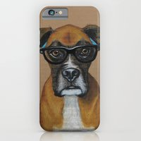 iPhone & iPod Case featuring Hipster Boxer dog by PaperTigress