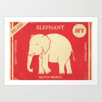 Elephant Safety Matches Art Print
