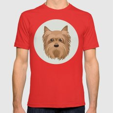 Yorkshire Terrier Pattern Mens Fitted Tee Red SMALL
