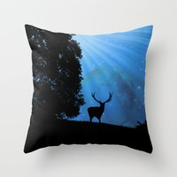 Moon & Deer - JUSTART © Throw Pillow