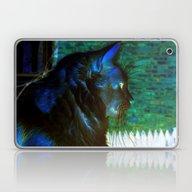 Laptop & iPad Skin featuring Spooky Cat Profile by Minx267
