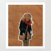 Red Scarf Art Print