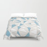 Ab Nude Lines with Blue Blocks Duvet Cover