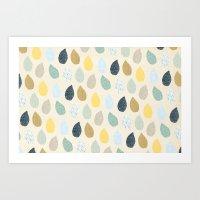 Rain Drops Pattern Art Print