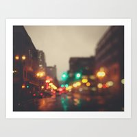 Portland In The Rain Art Print
