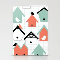 birds and houses Stationery Cards