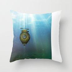 Steampunk submarine Throw Pillow