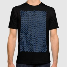 Hand Knit Navy SMALL Black Mens Fitted Tee