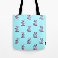 Crazy Cat (Pink/Blue)  Tote Bag