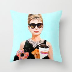 Breakfast at Dunkin Donuts - Audrey Hepburn Throw Pillow
