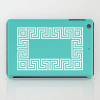Greek Key Turquoise iPad Case