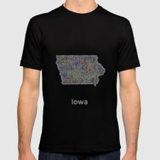 Iowa map Mens Fitted Tee Black SMALL