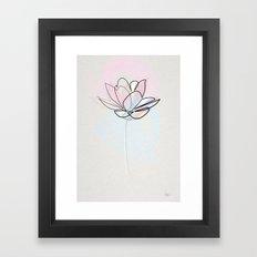 One line Lotus Framed Art Print