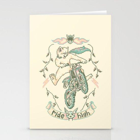 Motocross-Stitch Kitteh Stationery Card