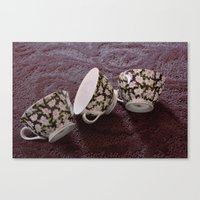 Pink Flowered Teacups Canvas Print