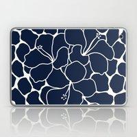 Hibiscus Flower Animal Print Navy  Laptop & iPad Skin