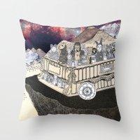 Animals On A Wagon Throw Pillow