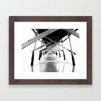 Sunset Beach Pier Framed Art Print