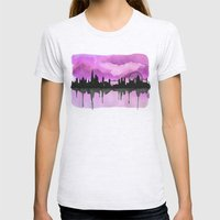 Aubergine London Skyline 2 Womens Fitted Tee Ash Grey SMALL