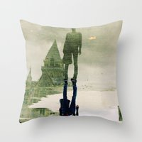 the fountain. Throw Pillow