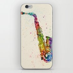 Saxophone Abstract Watercolor iPhone & iPod Skin
