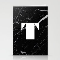 Black Marble - Alphabet T Stationery Cards