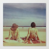 Beach Days, Polaroid Canvas Print