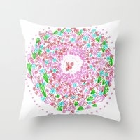 Floral circle Throw Pillow