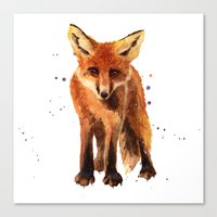 Watercolor FOX, FOX painting, animal art, watercolor animals, woodland nursery Canvas Print