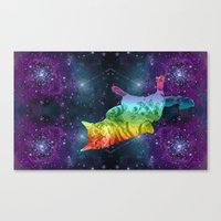 Rainbow Kitty Floating in Space Canvas Print