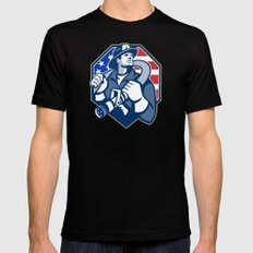 American Fireman Fire-fighter Fire Hose Retro SMALL Black Mens Fitted Tee