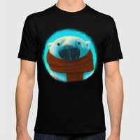 Polar bear with scarf Mens Fitted Tee Black SMALL