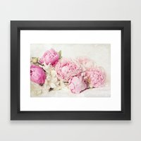 Peonies on white Framed Art Print
