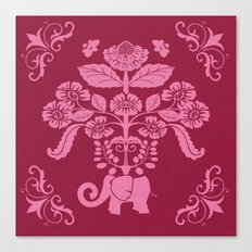 Elephants in my Garden in Berry and Pink Canvas Print