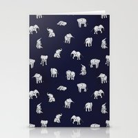 indian Stationery Cards featuring Indian Baby Elephants in Navy by Estelle F