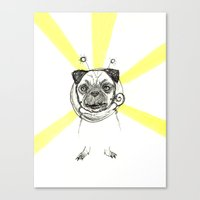Pug in Space Silly Doodle Canvas Print