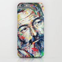 iPhone Cases featuring Ernest Hemingway by Marta Zawadzka