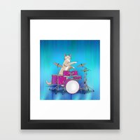 Cat Playing Drums - Blue Framed Art Print