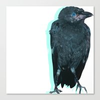 Half Tone Crow Canvas Print