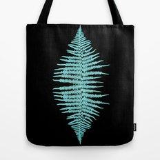 Teal Fern Leaf on Black Tote Bag