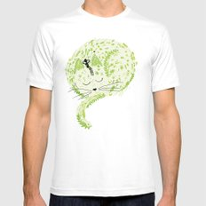 Fresh cat White SMALL Mens Fitted Tee