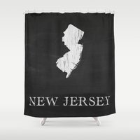 New Jersey State Map Cha… Shower Curtain