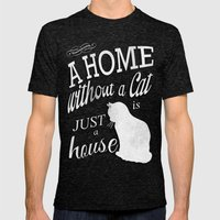 Home with Cat Mens Fitted Tee Tri-Black SMALL